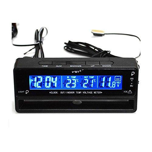 Digital LCD Innen Außen Thermometer Temperaturmesser Spannungstester Voltmeter Auto Uhr Schwarz