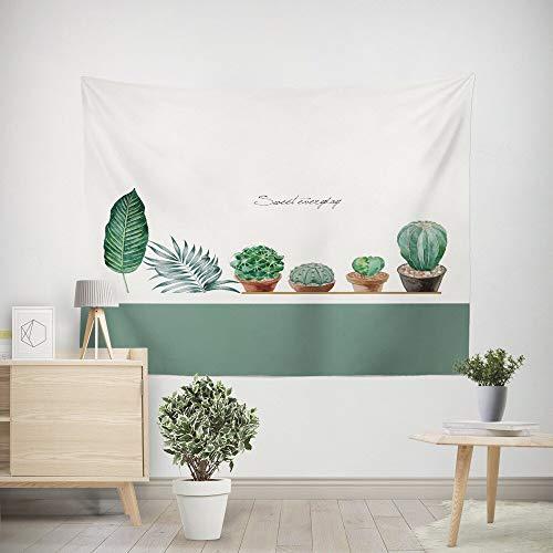 WERT Planta de Estilo Simple Tapiz Blanco Colgante de Pared Arte Manta Sala de Estar Dormitorio Dormitorio Decoración para el hogar Mantel Picnic Toalla de Playa A13 95x73cm
