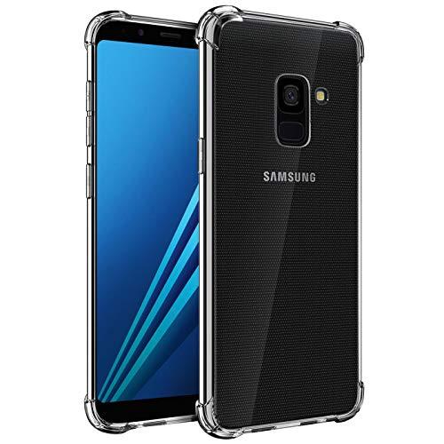 Verco Handyhülle für Samsung Galaxy A8 (2018), Anti Shock Schutzhülle für Samsung Galaxy A8 Hülle Silikon [Bildschirm- und Kameraschutz] Weiche Flexible TPU Hülle, Transparent