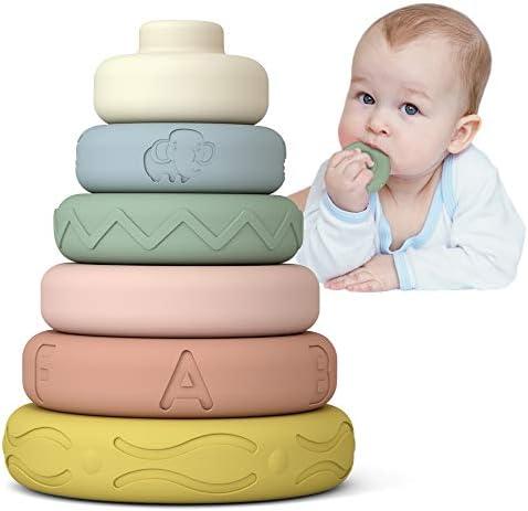 Mini Tudou 6 PCS Baby Stacking Nesting Toys Soft Stacking Blocks Ring Stacker Baby Montessori product image