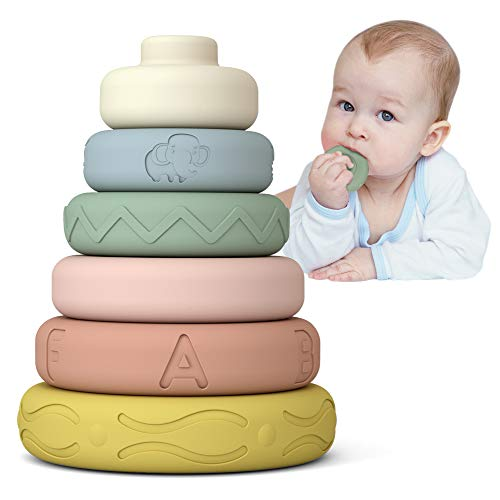 Mini Tudou 6 PCS Baby Stacking & Nesting Toys, Soft Stacking Blocks Ring Stacker, Baby MontessoriSensory Toys with Letter, Animal and Shape, Early Learning Toys for Babies Toddlers Kids 6 Months