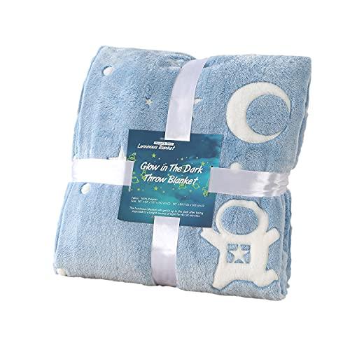 SUCHDECO Leuchtende Decke für Erwachsene und Kinder, Superweiche Plüsch-Überwurfdecke mit Astronauten-Muster, Muttertags-Geburtstagsgeschenk für Frauen, Jungen, Mädchen, Kinder, Blau (152 x 203cm)