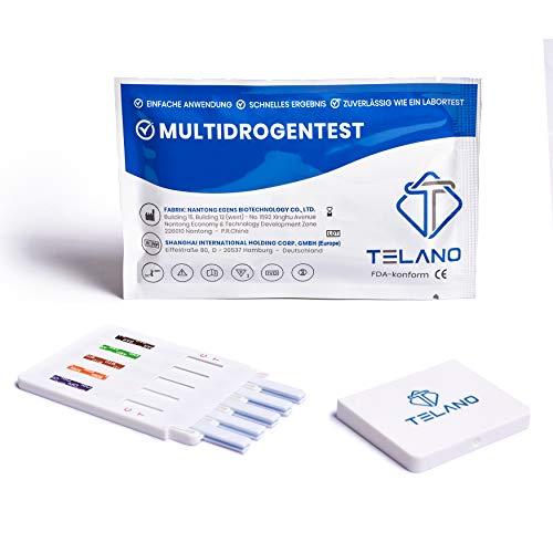 5x Telano Multi Drogentest 10 | Urin Drogentest Dip-Karte zum Nachweis von Drogen & Abbauprodukten im Körper | Drogenschnelltest von 10 Drogen (COC, THC, AMP, MDMA, MET, OPI, BAR, KET, BZO und MTD)