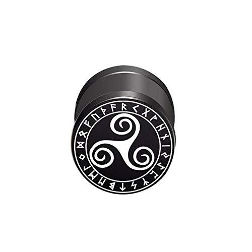 BlackAmazement Pendiente falso dilatador de acero inoxidable 316L, diseño trisquel, runa vikinga, círculo, celta, 10 mm, negro, para hombre y mujer