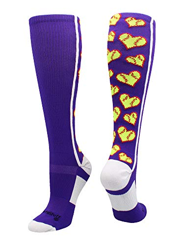 MadSportsStuff Love Softball Socks with Hearts Over The Calf (Purple/White, Small)