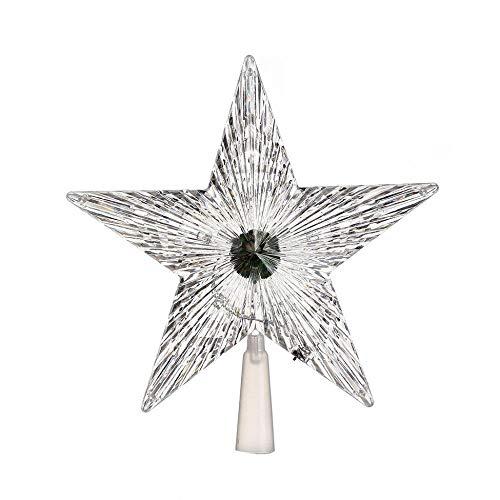 4 LED intermitente Modo Estrella Árbol de Navidad Topper Luz Navidad Decoración de fiesta en casa Lámpara Tres...