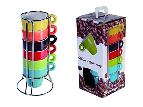 mucplants 6er Set Espressotassen farbig + praktischen Chromständer + Geschenkkarton Espresso