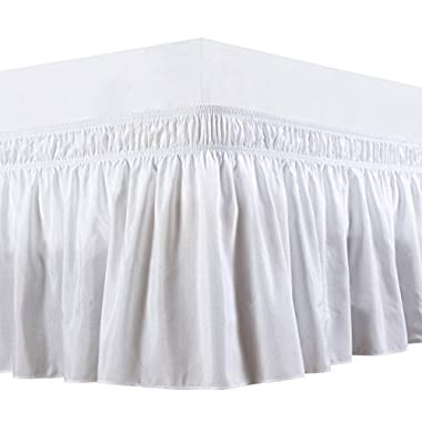 Biscaynebay Wrap Around Bed Skirt, Elastic Dust Ruffle Easy Fit, Wrinkle and Fade Resistant Solid Color Hotel Quality Fabric, Queen Size, White