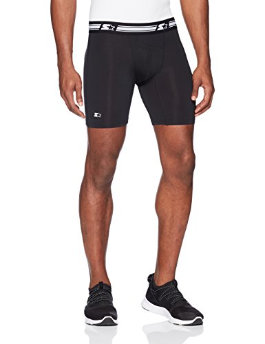 "Starter Men's 6"" Athletic Light-Compression Short, Amazon Exclusive, Black, Large"