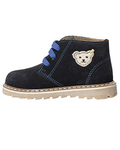 Steiff Knopf im Ohr - Kinder Leder Schuhe für Jungs blau Wolle gefüttert Charliee, Farbe:Blau, Größe:EUR 25