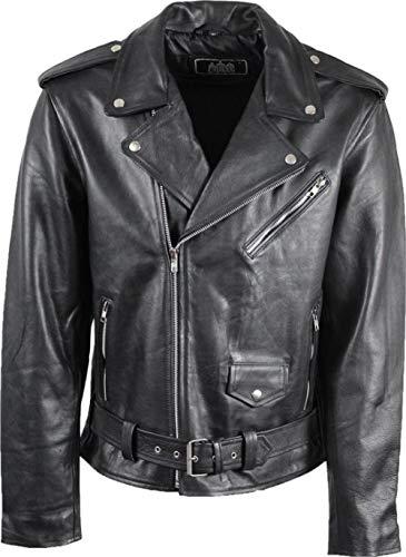 Urban Leather PERFECTO Gents | Herren Lederjacke |Hochwertige Rindslederjacke für Herren, Robust und Langlebig |Schwarz |M