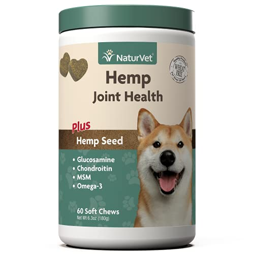 NaturVet Hemp Joint Health  Joint Care Support Supplement for Dogs  Soft Chews  60ct Made in The USA