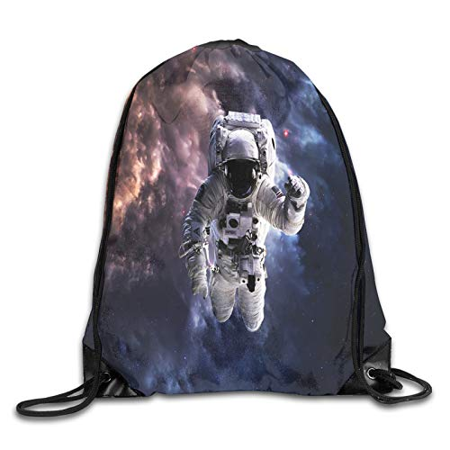 Fuliya Print Drawstring Backpack,Realistic Space Suit In Space Hovering In Emptiness Space Clouds Stars,Beach Bag for Gym Shopping Sport Yoga