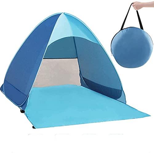 Trieksull Pop Up Tente, Portable Léger Tente de Plage, Soleil Abri pour 2-3 Personnes, Sac de Transport Tente Chevilles, UV Protection pour Famille, Jardin, Camping (Blue,Double)