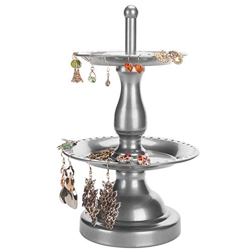 MyGift 2-Tier Fountain Style Silver Earring Hanger & Ring Dish Jewelry Stand