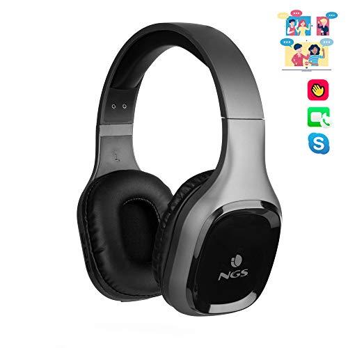 NGS Artica Sloth Gray - Auriculares inalámbricos compatibles con Tecnología Bluetooth 5.0 (10h de autonomía, micrófono, Micro USB) Color Gris.