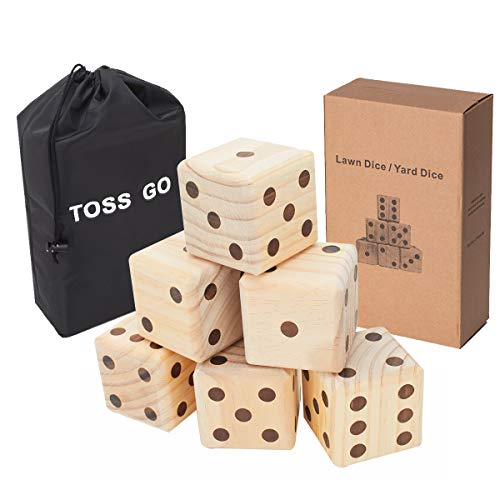 3.5-Inch Giant Lawn Dice 6-Pack Set with Drawstring Bag - Solid New Zealand Wooden Yard Dice for Yard Games and Lawn Games - Jumbo Dice with Scorecards - Summer Outdoor Games for Family