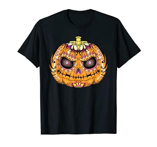 Calavera de azcar de calabaza, crneo de Halloween Camiseta