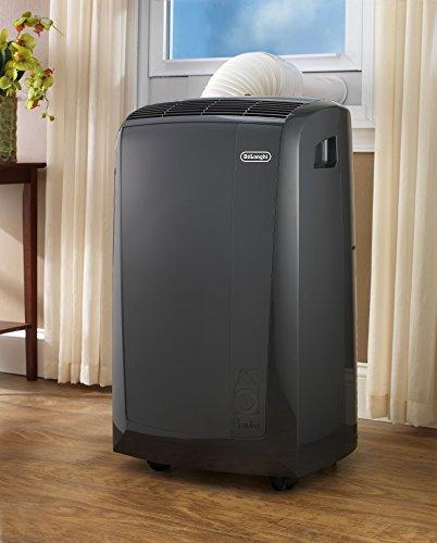 De'Longhi 3-in-1 Portable Air Conditioner, Dehumidifier & Fan + Remote Control & Wheels, 350 sq ft, Medium Room, 11000 BTU, Dark Gray, PACN110EC