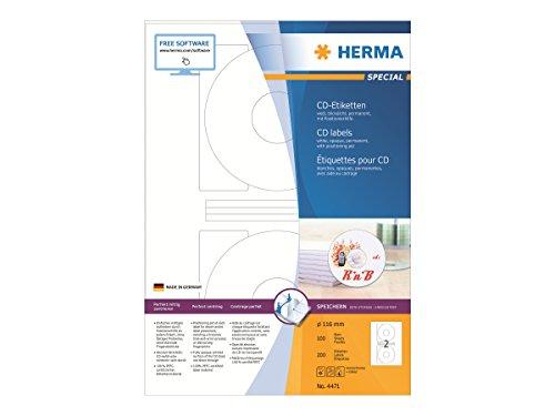 HERMA 4471 CD-/DVD-Etiketten inkl. Positionierhilfe DIN A4 blickdicht (Ø 116 mm, 100 Blatt, Papier, matt) selbstklebend, bedruckbar, permanent haftende CD-Aufkleber, 200 Klebeetiketten, weiß