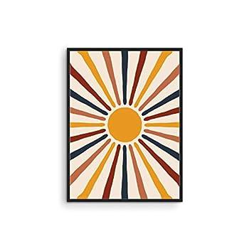 "Mid Century Modern Wall Art Sun - By Haus and Hues   Boho Posters and Prints Wall Art Mid Century Modern Print Sun Art Print Boho Pictures for Wall Boho Art Boho Prints   UNFRAMED 12"" x 16"""