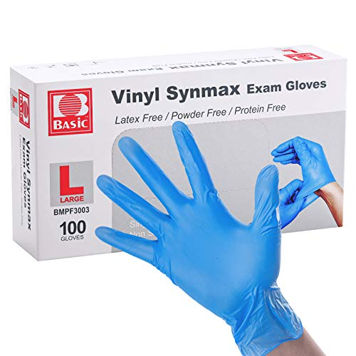 Basic Disposable Vinyl Gloves 100Pcs,Large Size,Cleaning Gloves,Food Service Gloves,Powder Free,Latex Free,Non-Sterile for All Purposes Gloves,Blue (BMPF3003)