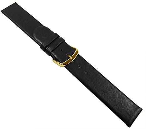 Wellness Uhrenarmband Lammnappa Leder schwarz 20555G, Stegbreite:18mm