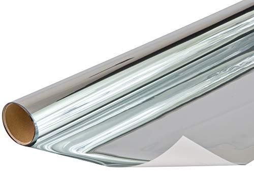 Venilia Spiegelnd Klebefolie Sichtschutz mit Spiegeleffekt, Spiegelfolie, Fensterfolie schützt vor Sonneneinblendung und Blicken, inkl. Cutter und Schaber, PVC, 75 cm x 1,5 m, 53436, 75cm x 1,5m