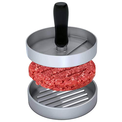 Prensa de hamburguesas de aluminio fundido, para hacer hamburguesas Rodmaie con 2 hojas de papel de hornear, set de prensa de hamburguesas para deliciosas hamburguesas, empanadas, barbacoa
