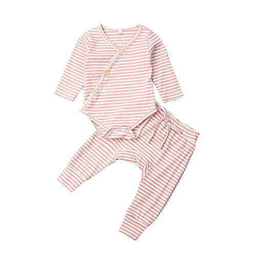 Toddler Baby Boys Girls Kimono Side Snap Onesies Long Sleeve Stripe Bodysuit + Long Pants Pajamas 2pcs Outfit Set (Pink, 70)