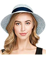 Beach Sun Hats for Women Straw Wide Brim Floppy Foldable Summer Upf50 Hat