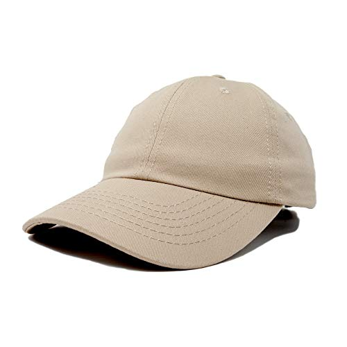 Dalix Unisex Unstructured Cotton Cap Adjustable Plain Hat, Khaki