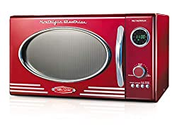 Image of Nostalgia RMO4RR Retro Large 0.9 cu ft, 800-Watt Countertop Microwave Oven, 12 Pre-Programmed Cooking Settings, Digital Clock, Easy Clean Interior, Metallic Red: Bestviewsreviews