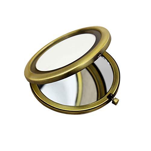 Miroir de Poche Compact Miroir de Voyage Mini Miroir de Maquillage Rond Rétro 70mm Large Miroir Lumineux,Bronze
