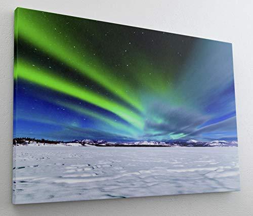 Nordpol Nordlicht Polarlicht Eis Leinwand Bild Wandbild Kunstdruck L0879 Größe 150 cm x 100 cm