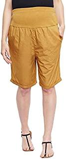 oxolloxo Women's Cotton Maternity Shorts (Mustard)