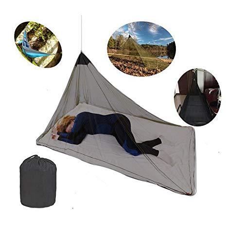 Moustiquaire pour Lit de Camping 1 Personne Simple Compacte Légère Anti-Insectes pour Voyage Pêche Randonnée avec 4 Pinces Sac de Transport Noir