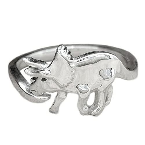 Anillos para mujer vintage pequeños dinosaurios anillos de moda estilo retro ajustable Animal dinosaurio anillos para mujeres hombres murciélagos, Plata y acero inoxidable,