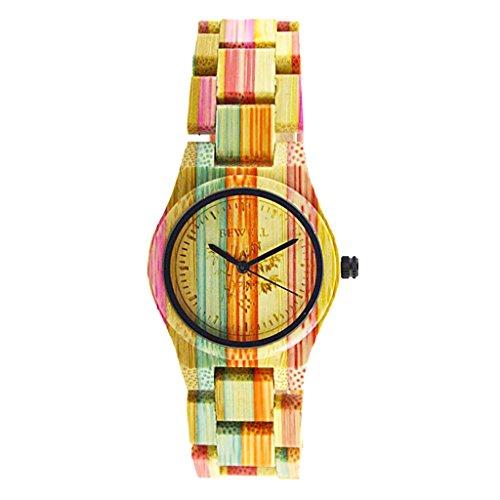 Sharplace Bunt Bambus Holz Uhr Armbanduhr Herren Damen Quarzuhr