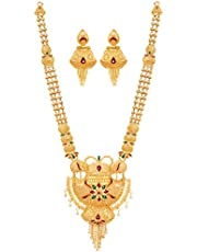Mansiyaorange One Gram Gold Forming Work Premium Long Haram Pendant Multi Color Golden Jewellery Necklace/Juelry/Pendant Set/Pndnt Set/jwelry Set Jewellery for Women(11 in Long 12 in Wide)