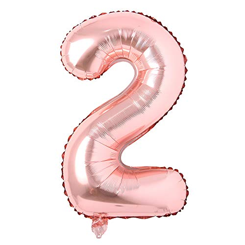 40 inch Letter Rose Gold Alphabet Number Balloon Foil Mylar Party Wedding Bachelorette Birthday Bridal Shower Graduation Anniversary Celebration Decoration Fly with Helium (40 INCH Rose Gold 2)