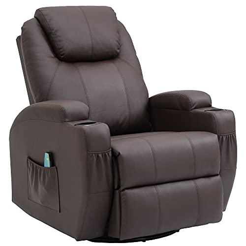 Fernsehsessel Relaxsessel Massagesessel mit Wärmefunktion und Vibration,Fernbedienung 360° Drehbar Brown