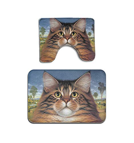 Hotyle Wildlife Art Katzenfutter Heute Goldfisch Katatonischer Sonnenuntergang 2-teiliges Badezimmermatten-Set Sockelteppich Badematten-Teppich rutschfeste Fußmatte