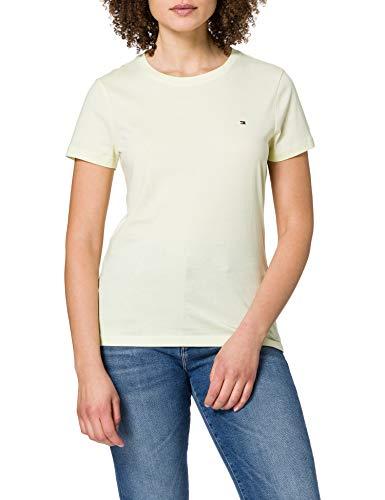Tommy Hilfiger New Crew Neck tee Camiseta sin Mangas para bebés y niños pequeños, Limón Esmerilado, XS para Mujer