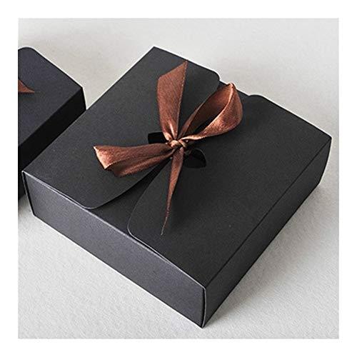 Cajas con la cinta, cajas del favor de la boda, cajas del favor, fiesta de cajas de regalo 30pcs / lot gift (Color : Black, Gift Box Size : 12x12x5cm)