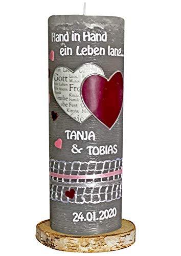 Hochzeitskerze mit Name & Hochzeitsdatum Rustica Rustik grau Herzen brombeere rosa