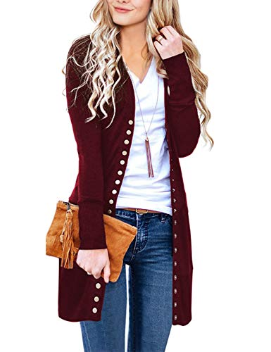 MEROKEETY Women's Long Sleeve Snap Button Down Solid Color Knit Ribbed Neckline Cardigans Wine