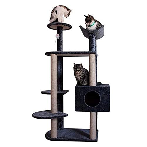 YAMMY Árbol de Tres Gatos de Juguete Colgante Plataforma Grande de Madera Multicapa Salto Nido de Gato Escaleras de apartamento Columna de sisal Resistente al Desgaste (árbol de Gato)