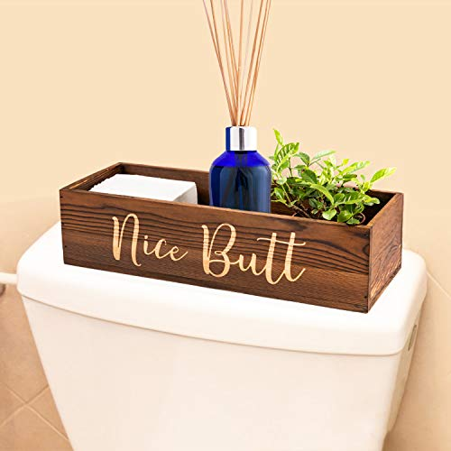 MUJUZE Bathroom Decor Box Toilet Paper Holder, Cute Baby Diaper Caddy Organizer for Changing Table, or Farmhouse Kitchen Utensil Holder Caddy, DIY Wood Box for Toilet Tank Tray, Rustic Home Decor