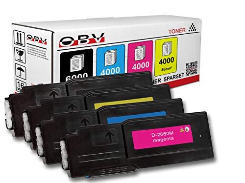 OBV 4 x kompatibler Toner für Dell C2660 C2660dn C2660dnf C2665schwarz 6000 Seiten/farbig je 4000 Seiten